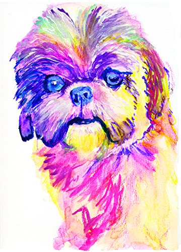 Shih tzu Gift, Shih tzu Art Print, Abstract Shih tzu Painting, Dog Gifts for Women, Modern Dog Picture - Dog portraits by Oscar Jetson