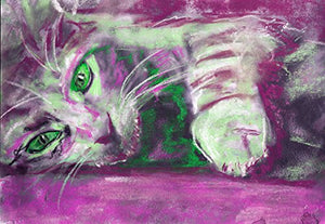 Purple Cat Art Print, Colorful Cat Mom Home Decor, Cat Owner Gift, Kitten Wall Art Print, Cat Mom Gift, Cat Lover Wall Decor hand signed - Dog portraits by Oscar Jetson