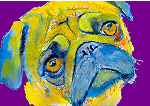 Pug Wall Art Print, Colorful Dog Artwork, Pug Memorial Gift, Dog Wall Art Decor, Choice Of Sizes Hand Signed By Pet Portrait Artist Oscar Jetson - Dog portraits by Oscar Jetson