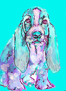 Basset Hound Wall Art Print, Dog Nursery Art, Dog Owner Gift, Choice of Size, Dog Memorial Hand Signed by Pet Artist Oscar Jetson - Dog portraits by Oscar Jetson