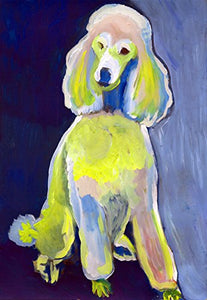 Poodle Painting Art Print, Colorful Blue Yellow Poodle Mom Gift, Dog Painting, Poodle Fan, Standard Poodle Nursery Art, Blue Yellow Baby Pink Standard Poodle Signed by Oscar Jetson - Dog portraits by Oscar Jetson