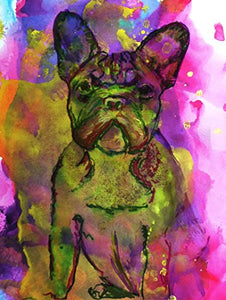 French Bulldog Art, Grumpy Frenchie Home decor, Colorful Frowning French Bulldog Mom Gift, French Bull decor, Gift for Frenchie Owner, hand signed by Dog Artist Oscar Jetson - Dog portraits by Oscar Jetson