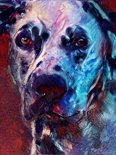 Spotted Great Dane Wall Art Decor, Dog Memorial, Great Dane Picture Gift Choice of Sizes Hand Signed by Dog Portrait Artist Oscar Jetson. - Dog portraits by Oscar Jetson