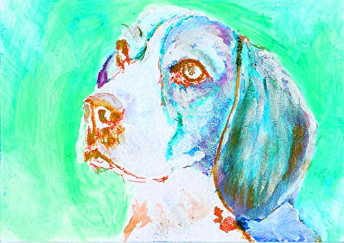Beagle owner Gift, Abstract Vivid Beagle Dog Wall Art Print, Colorful Turquoise Beagle Decor, Beagle Owner Gift, Beagle Dog Art, Dog Wall Art Print, Beagle Dog Watercolour Painting Decor - Dog portraits by Oscar Jetson