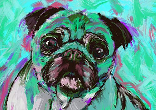 Pug Wall Art Print, Colorful Abstract Pug Dog Artwork, Pug Owner Gift, Unique Pug Gift Choice of Sizes Hand Signed by Oscar Jetson - Dog portraits by Oscar Jetson