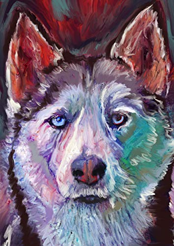 Modern Husky Wall Art Print, Colorful Colorful Husky Decor, Husky Owner Gift, Husky Dad, Dog Art, Husky Mom Wall Art Print choice of size Signed By Oscar Jetson - Dog portraits by Oscar Jetson