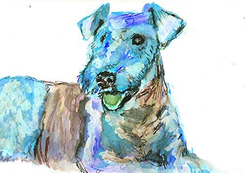 Airedale Terrier Wall Art Print, Colorful Electric Blue Dog Artwork, Airedale Terrier Mom Decor Watercolor Painting Print Hand Signed by Artist Oscar Jetson. - Dog portraits by Oscar Jetson