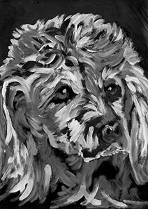 Black and White Poodle Art Print, Poodle Mom Gift, Dog Painting, Poodle Lover, Standard Poodle Nursery Art, Standard Poodle, Dog Painting Signed by Oscar Jetson - Dog portraits by Oscar Jetson