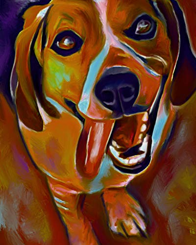 Beagle Painting Modern Abstract Wall Art Print, Colorful Beagle Artwork, Beagle Owner Gift, Beagle Dog Art, Dog Wall Art Print, Colorful Beagle Decor signed by Oscar Jetson - Dog portraits by Oscar Jetson