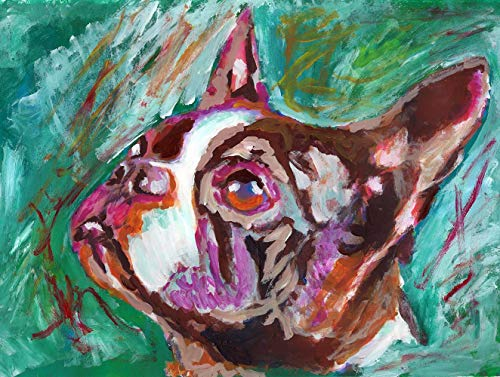 Abstract Boston Terrier Wall Art Print, Colorful Dog Memorial Print, Boston Terrier Owner Gift, Puppy Painting Hand Signed By Oscar Jetson, Choice Of Sizes - Dog portraits by Oscar Jetson
