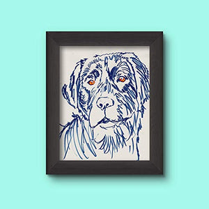 Blue Labrador Line Art Decor, Colorful Labrador Retriever, Dog Owner Gift, Expressive Painting Memorial Gift Choice Of Sizes Hand Signed By Pet Portrait Artist Oscar Jetson. - Dog portraits by Oscar Jetson