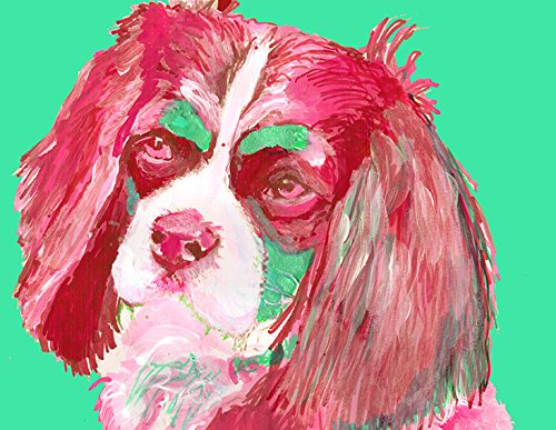 Cavalier King Charles Spaniel Art, Cavalier King Charles Spaniel Print. Cavalier Bedroom Decor, Abstract Colorful Spaniel Art, Spaniel Gifts for Women, Spaniel Mom Painting, Modern Dog Wall Art - Dog portraits by Oscar Jetson