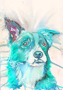 Border Collie Wall Art Decor, Modern Dog Watercolor Artwork Print, Dog Owner Gift, Collie Mom Gift, Abstract Pet Picture Hand Signed By Oscar Jetson Choice Of Sizes 8x10, 11x14, 12x16. - Dog portraits by Oscar Jetson