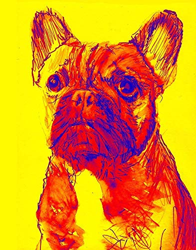 French Bulldog Wall Art Print Decor, Dog Memorial Gift, Frenchie Owner, Colorful Frenchie Dog Painting Print Choice Of Sizes Hand Signed by Pet Portrait Artist Oscar Jetson - Dog portraits by Oscar Jetson
