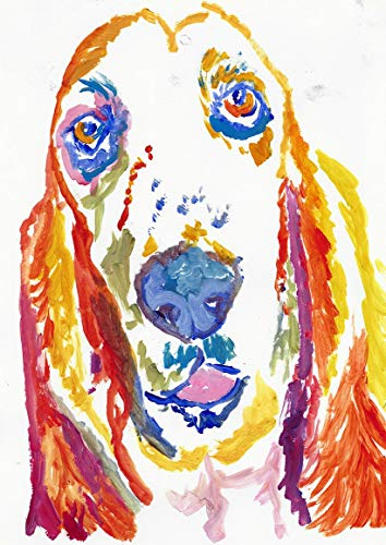 Basset Hound Wall Art Decor, Abstract Expressive Basset Hound Owner Gift, Dog Memorial Artwork, Basset Hound Nursery Picture, Choice Of Sizes Hand Signed By Pet Portrait Artist Oscar Jetson - Dog portraits by Oscar Jetson