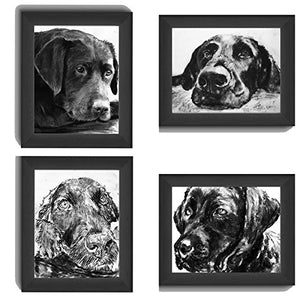 Four Black Labrador Art Prints Collection, Labrador Charcoal Wall Art Prints, Black Lab Picture, Labrador Dog Owner Gift, Lab Dog Art, Dog Wall Art Print, Black Labrador Dog Drawing by Oscar Jetson - Dog portraits by Oscar Jetson