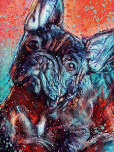 French Bulldog Dog Owner Wall Art Decor, Abstract French Bull Dog Memorial, Abstract Dog Picture Gift Choice of Sizes Hand Signed by Dog Portrait Artist Oscar Jetson. - Dog portraits by Oscar Jetson
