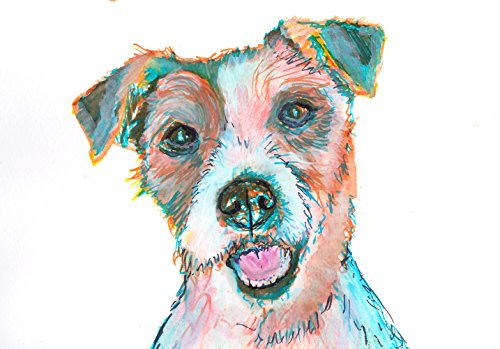 Jack Russell Terrier Nursery Wall Art, JRT Print, Gift for Jack Russell Owner, JRT Mom, Jack Russell Art, Jack Russell Gift, Brown White Turquoise Jack Russell Dog Painting - Dog portraits by Oscar Jetson