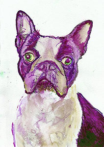Purple Boston Terrier Wall Art Print, Colorful Boston Terrier Nursery Art, Boston Terrier Owner Gift, Dog Art Print, Colorful Dog Wall Decor - Dog portraits by Oscar Jetson
