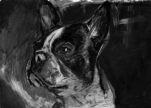 Boston Terrier Art, Boston Terrier Gifts, Boston Terrier Artwork, Boston Terrier gifts for men, Women, home decor boston terrier mom - Dog portraits by Oscar Jetson