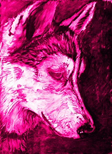 Husky Art Print, Colorful Siberian Husky Gift, Husky Mom, Pink Husky Drawing Wall Art Print by Oscar Jetson - Dog portraits by Oscar Jetson