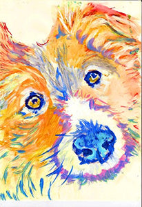 Colorful Abstract Corgi Wall Art Print, Corgi Mom Gift, Welsh Corgi Dog, Gift for Corgi Owner, Corgi Owner, Colorful Orange Corgi Art, Corgi Decor, Corgi Dog Painting - Dog portraits by Oscar Jetson