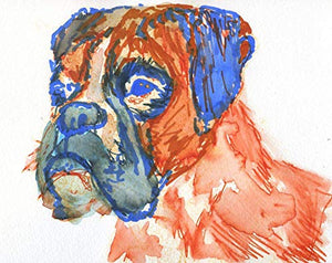 Boxer Dog Wall Art Print, Dog Owner Gift Idea, Colorful Orange Blue Dog Memorial Artwork Choice Of Sizes Hand Signed By Pet Portrait Artist Oscar Jetson Choice Of Sizes - Dog portraits by Oscar Jetson