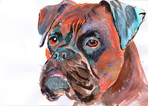 Boxer Dog Painting Art Print, Boxer Dog Owner Gift Idea, Boxer Owner Gift, Brindle Boxer Dog Wall art, Hand Signed Boxer Dog Wall Hanging Art - Dog portraits by Oscar Jetson