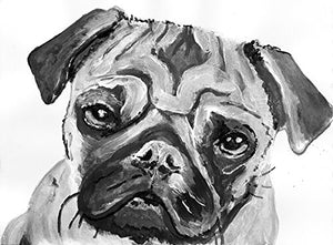 Black and White Pug Dog Wall Art Print, Pug Gift idea, Pug Owner, Black White Pug Drawing Wall Art Print, Pug Painting Print - Dog portraits by Oscar Jetson