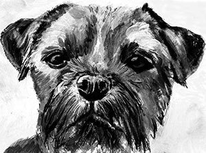 Border Terrier Wall Art Print, Dog Painting Print, Dog Wall Art,Border Terrier Owner Gift, Black and White Border Terrier Mom Decor Choice of Size Hand Signed by Artist Oscar Jetson. - Dog portraits by Oscar Jetson