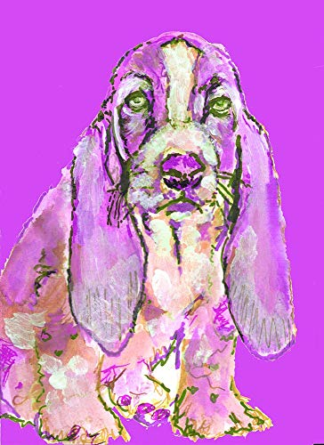 Purple Basset Hound Wall Art Print, Basset Hound Nursery Art, New Puppy Mom Gift, Abstract Dog Picture, Choice Of Sizes Hand Signed Painting Print Hand Signed By Pet Portrait Artist Oscar Jetson - Dog portraits by Oscar Jetson