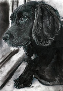 Cocker Spaniel Art Print, Cocker Spaniel Charcoal Drawing Art, Gift For Cocker Spaniel Owner, Spaniel Painting, Gift For Cocker Spaniel Mom, Dog Art Print, Black Cocker Signed Decor by Oscar Jetson - Dog portraits by Oscar Jetson