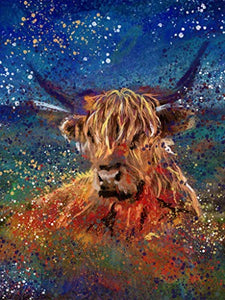 Abstract Highland Cow Wall Art Decor, Farm animal, Abstract Nursery Picture Gift Choice of Sizes Hand Signed by Artist Oscar Jetson - Dog portraits by Oscar Jetson