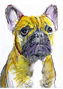 French Bulldog Wall Art Decor, Frenchie Owner, Dog Memorial Colorful Expressive Picture Choice Of Sizes Hand Signed by Pet Portrait Artist Oscar Jetson - Dog portraits by Oscar Jetson