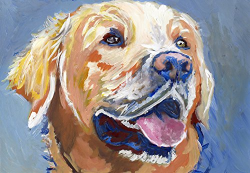 Colorful Lab Wall Art Print, Gift For Lab Owner, Lab Dog Print, Yellow Lab Painting, Gift For Labrador Mom, Dog Art Print, Labrador Dog Decor - Dog portraits by Oscar Jetson