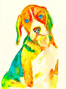 Abstract Beagle Wall Art Print, Colorful Beagle Lover Artwork, Beagle Fan Gift, Beagle Dog Art, Dog Wall Art Print, Colorful Beagle Dog Painting Art Print - Dog portraits by Oscar Jetson