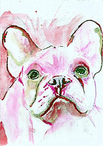 French Bulldog Wall Art Print, Pink Watercolor, Frenchie Owner Gift, Dog Memorial, Colorful Frenchy Painting Decor Gift For Her Choice Of Sizes Hand Signed By Pet Portrait Artist Oscar Jetson - Dog portraits by Oscar Jetson