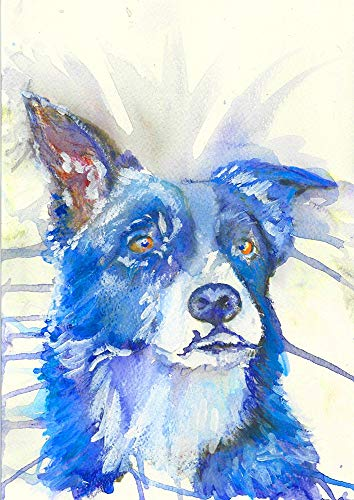 Colorful Blue Border Collie Wall Art Print, Dog Owner Gift, Collie Mom Dog Art, Dog Wall Art Print, Collie Dog Wall Hanging Decor Choice of Size Hand Signed by Artist Oscar Jetson. - Dog portraits by Oscar Jetson