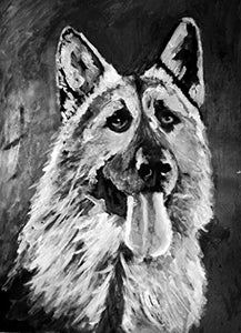 German Shepherd Painting Print, GSD Wall Art Decor, Black German Shepherd Artwork, GSD Owner Gift, GSD picture, Dog Wall Art Print, Signed Art Print by Oscar Jetson - Dog portraits by Oscar Jetson
