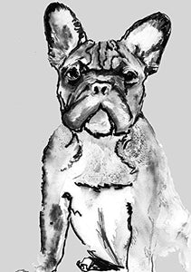 Grey Frowning Frenchie , French Bulldog Painting Wall Art, Black and White French Bulldog Owner Gift, Frenchie Dog Artwork, French Bulldog Dog Portrait Art Print - Dog portraits by Oscar Jetson
