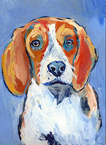 Beagle Wall Art Print, Colorful Beagle Picture, Dog Owner Gift, Pet Memorial, Nursery Art, Choice Of Sizes Hand Signed By Oscar Jetson - Dog portraits by Oscar Jetson
