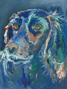 Cocker Spaniel Wall Art Print, Blue Spaniel Gift, English Cocker Owner, Spaniel Mom Painting Choice of Size Hand Signed Print by Oscar Jetson. - Dog portraits by Oscar Jetson