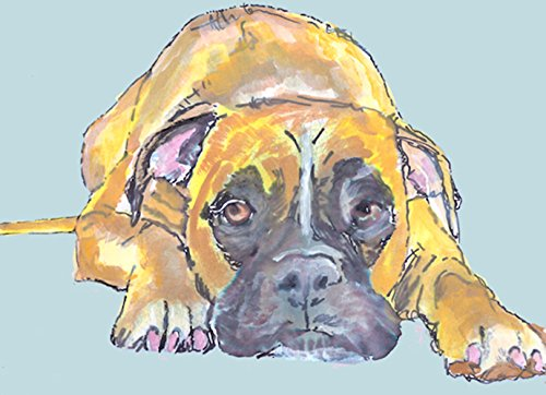Boxer Dog Puppy Painting, Blue Boxer Dog Owner Gift Idea, Boxer Mom Art, Blue Boxer Dog Wall art, Hand Signed Boxer Dog Nursery Art Print - Dog portraits by Oscar Jetson