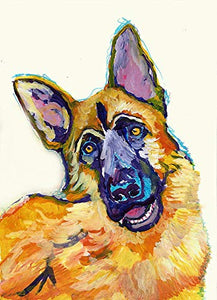 German Shepherd Wall Art Print, Colorful GSD Memorial, German Shepherd Gift, Colorful Abstract Dog Painting Decor, Choice Of Sizes Hand Signed By Pet Portrait Artist Oscar Jetson. - Dog portraits by Oscar Jetson