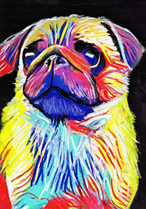 Pug Dog Painting Wall Art Print, Colorful Abstract Pug Gift, Pug Owner, Pug Drawing Pastel Art Print, Pug Art - Dog portraits by Oscar Jetson