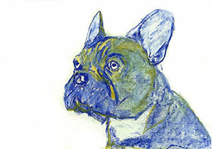 Blue French Bulldog Wall Art, Expressive French Bulldog,Gift for Frenchie Owner, French Bulldog Artwork, Bulldog Wall Art Print, Wall Hanging Frenchie Gift - Dog portraits by Oscar Jetson