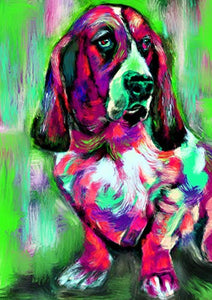 Basset Hound Art Print, Colorful Modern Basset Hound Decor, Basset Hound Dog Picture, Dog Artwork Print, Colorful Basset Owner Gift Hand Signed by Oscar Jetson - Dog portraits by Oscar Jetson