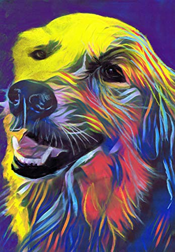 Happy Golden Retriever Wall Art, Golden Retriever Owner Gift Idea, Golden Retriever Mom, Goldie Art Decor, Abstract Modern Wall Art Print - Dog portraits by Oscar Jetson