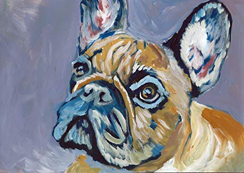 French Bulldog Wall Art Print, Frenchie Owner Gift Idea, Frenchy Nursery Art, Colorful Dog Memorial Decor Choice Of Sizes Hand Signed By Oscar Jetson - Dog portraits by Oscar Jetson