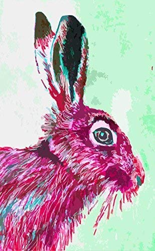 March Hare Wall Art Print, Colorful Pink Hare Gift, Hare Decor, Animal Woodland Hare Painting Print Gift Hare In The Forest Magical wall Art Wildlife Decor Signed By Artist Oscar Jetson. - Dog portraits by Oscar Jetson